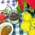 Rodajas de membrillo con miel ecológica
