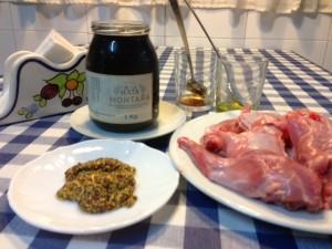 Conejo con miel ecológica y mostaza