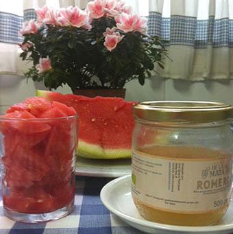 Zumo de sandía con miel